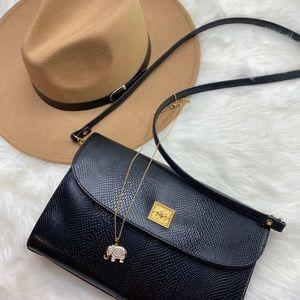 Bueno black croc style shoulder bag